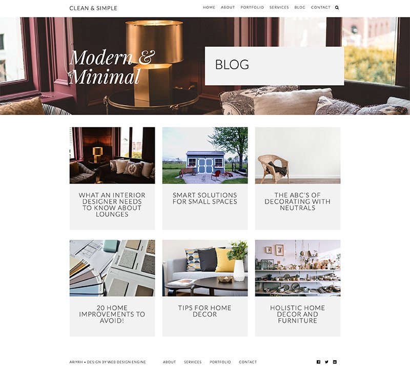Ariyah Clean & Simple Blog Page