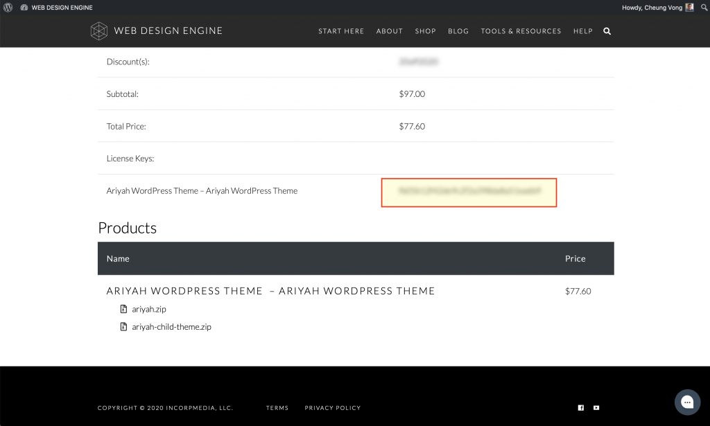 License Key as shown on purchase confirmation page