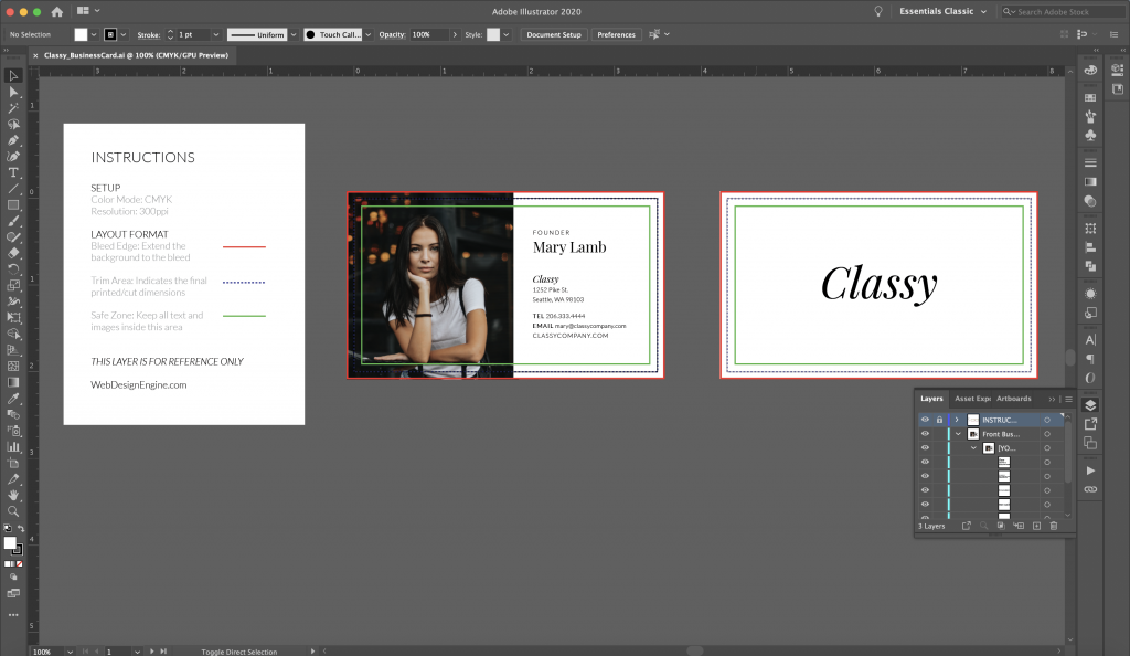 Business Card file in Illustrator with instructions layer showing guides, bleeds, and trim lines.